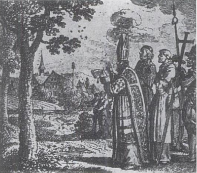 el obispo excomulgando cochinillas
