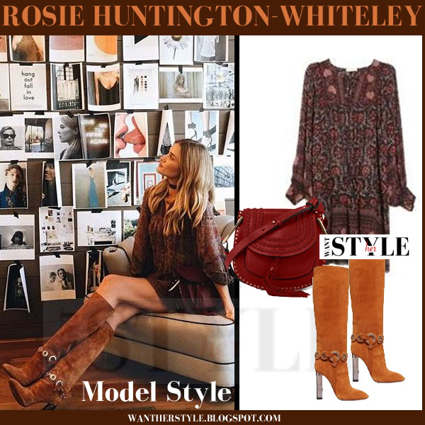 Rosie Huntington-Whiteley in dark red brown print Ulla Johnson Aida mini dress and brown suede emilio pucci knee boots what she wore model style