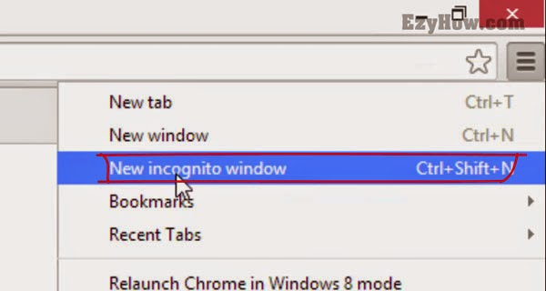 New Incognito Window option in Google Chrome