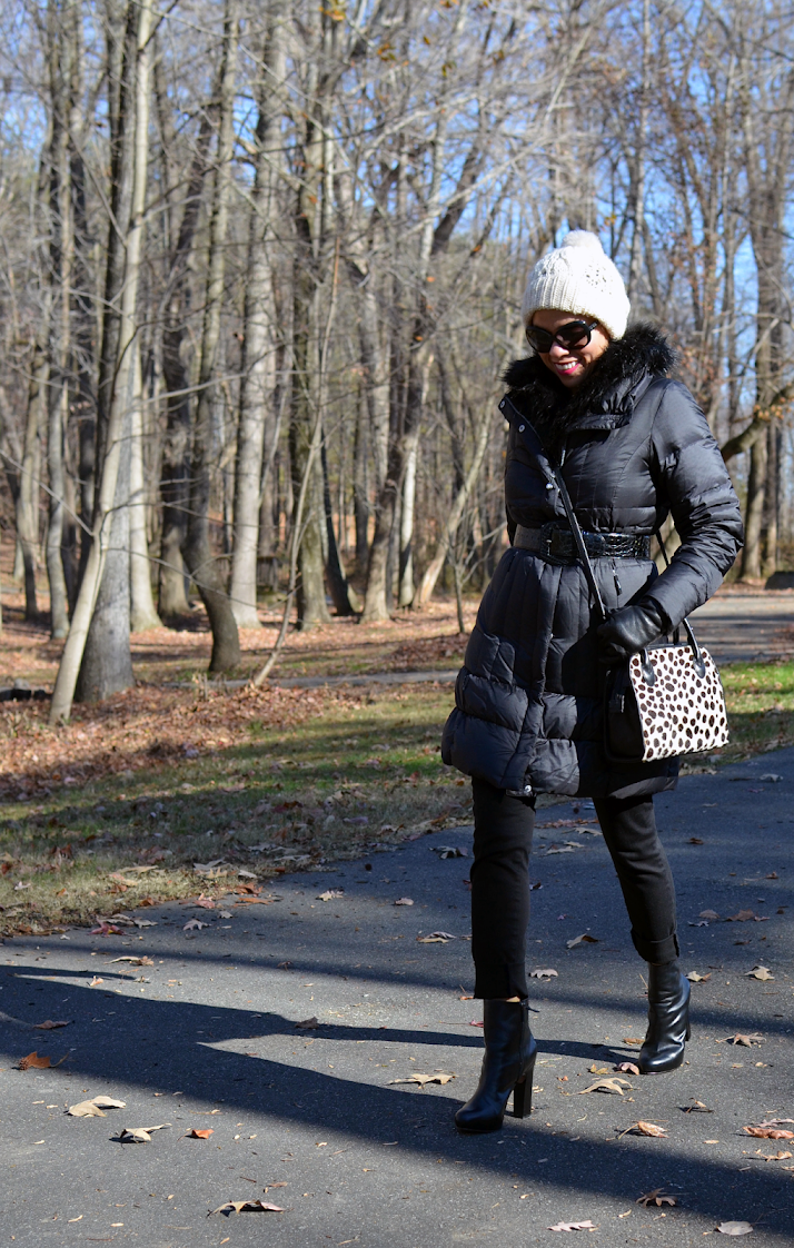 Black puffer coat outfit