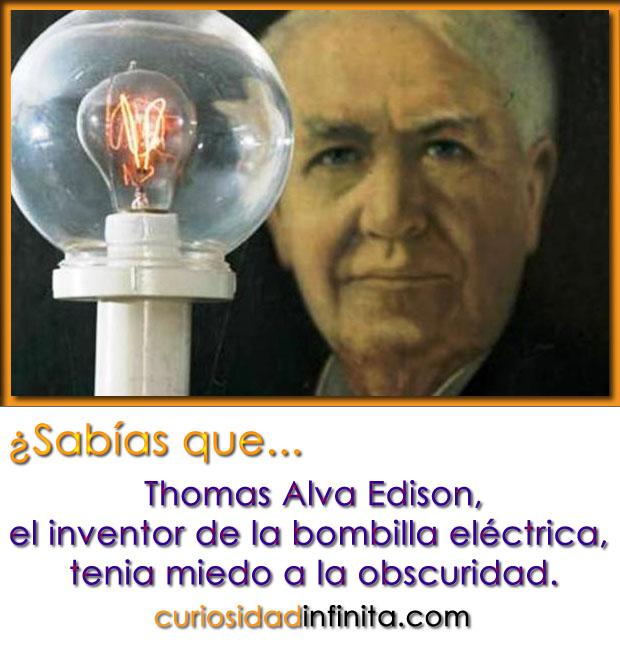 Thomas Alva Edison le tenía miedo a la obscuridad, inventor de la bombilla electrica, foco