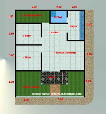 Denah Desain Rumah Minimalis Type 21/60 Sudut