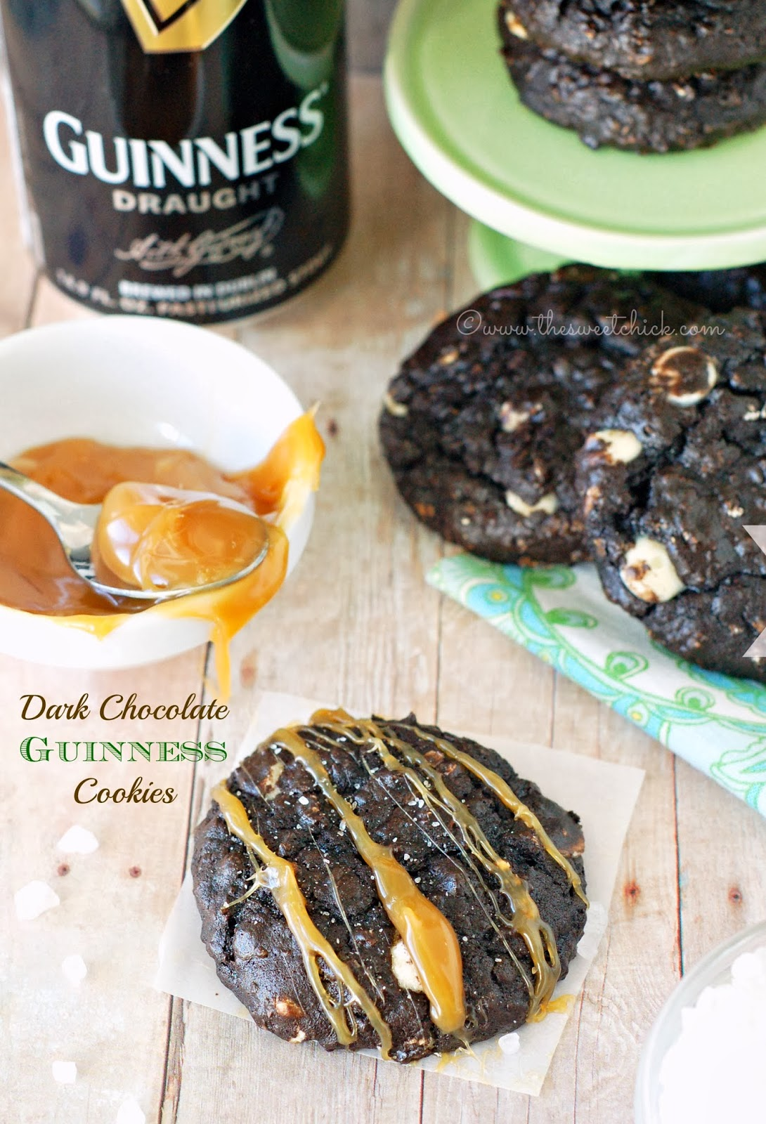 Dark Chocolate Guinness Cookies by The Sweet Chick
