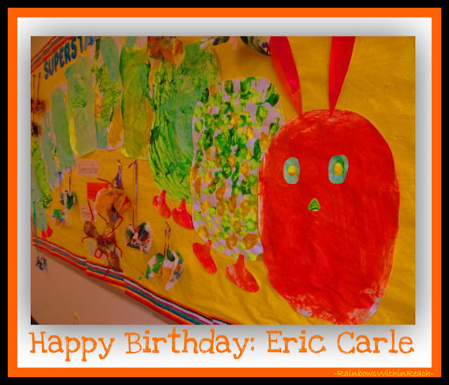 photo of: Bulletin Board of Eric Carle's Hungry Caterpillar as Process Art for Early Childhood via RainbowsWithinReach