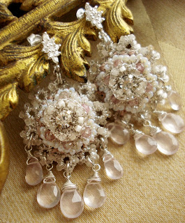 Blush Pink, Crystal Bridal Chandelier Earrings