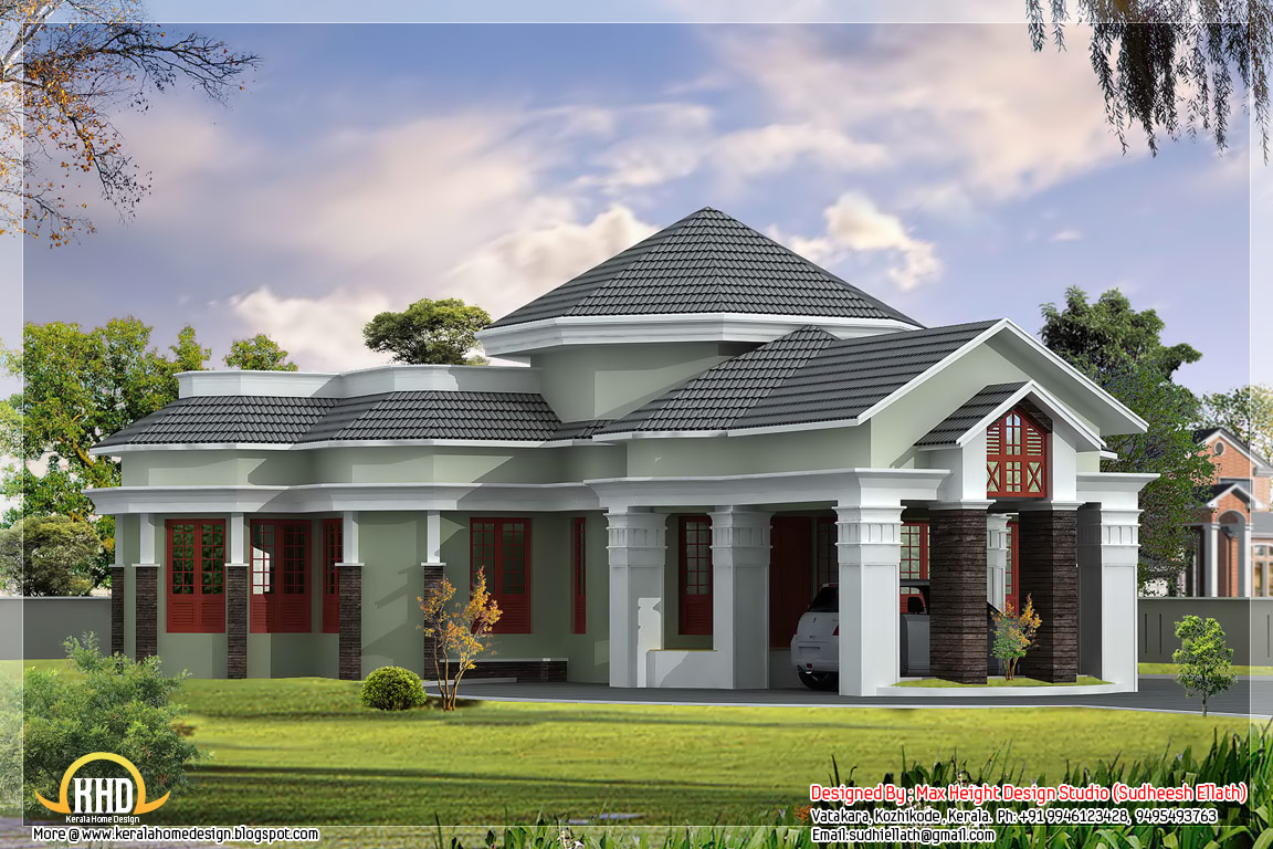 Elegant looking one floor home elevation 2550 sq ft for Single floor house