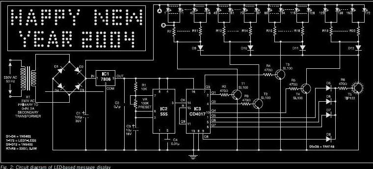 Led based message display circuit diary the power supply for the message display circuit fig 2 comprises a 0 9v 2a step down transformer x1 bridge rectifier comprising diodes d1 through d4 ccuart Images