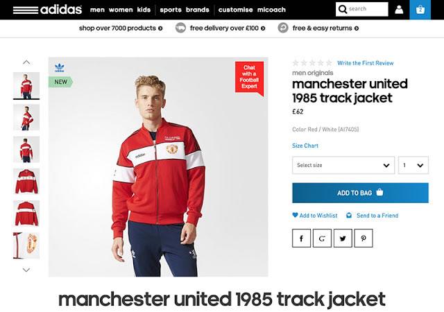 adidas promociona campera retro del Manchester United con ropa del Chelsea