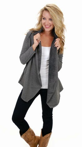 Perfect look in black pant, white blouse and grey cardi