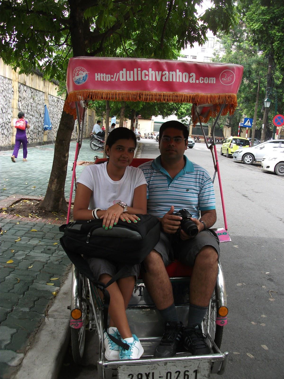 Rickshaw in old town , hanoi
