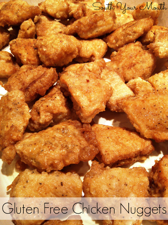 Crispy gluten free chicken nuggets breaded with egg and cornstarch.