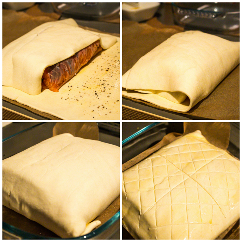 Folding up a salmon en croute parcel | Svelte Salivations