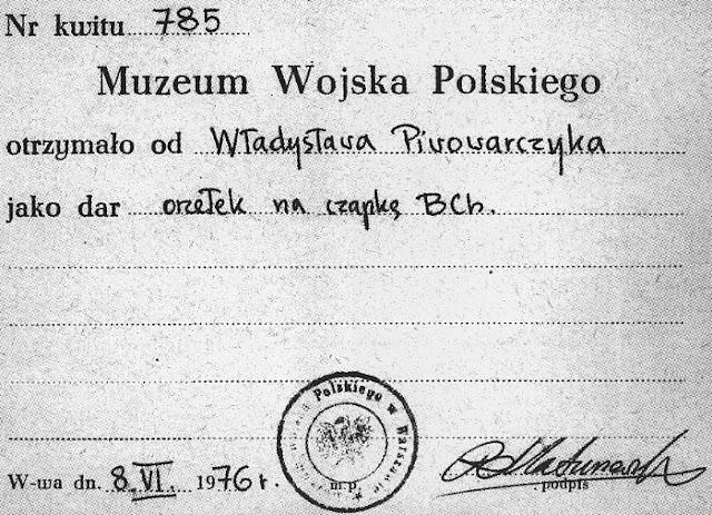 Zaświadczenie o przekazaniu do MWP w Warszawie orzełka wyprodukowanego na terenie Kornicy. Fot. zamieszczona w książce Marka Piwowarczyka, Kornica.