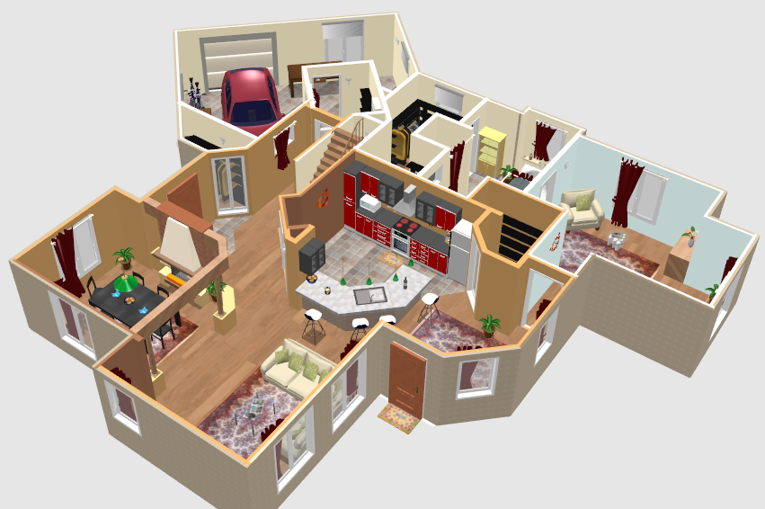 3 bedroom house floor plans with models - Sweet Home 3d Software Libre En Dise 241 O De Interiores Www