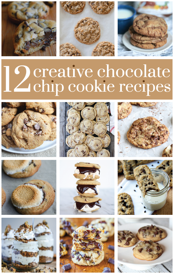 12 creative chocolate chip cookie recipes via @hayleyparker08, @ohjoy, @indigoscones, @keefeamy, @twopeasandpod, @gfshoestring, @seddy5, @hbharvest, @nfolgate9, @howsweeteats, @averie + @cookiesandcups!