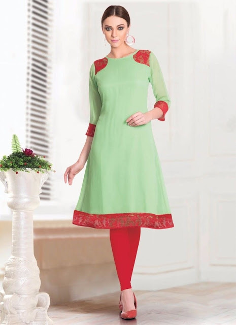 Pista Green & Red Georgette Casual Kurti