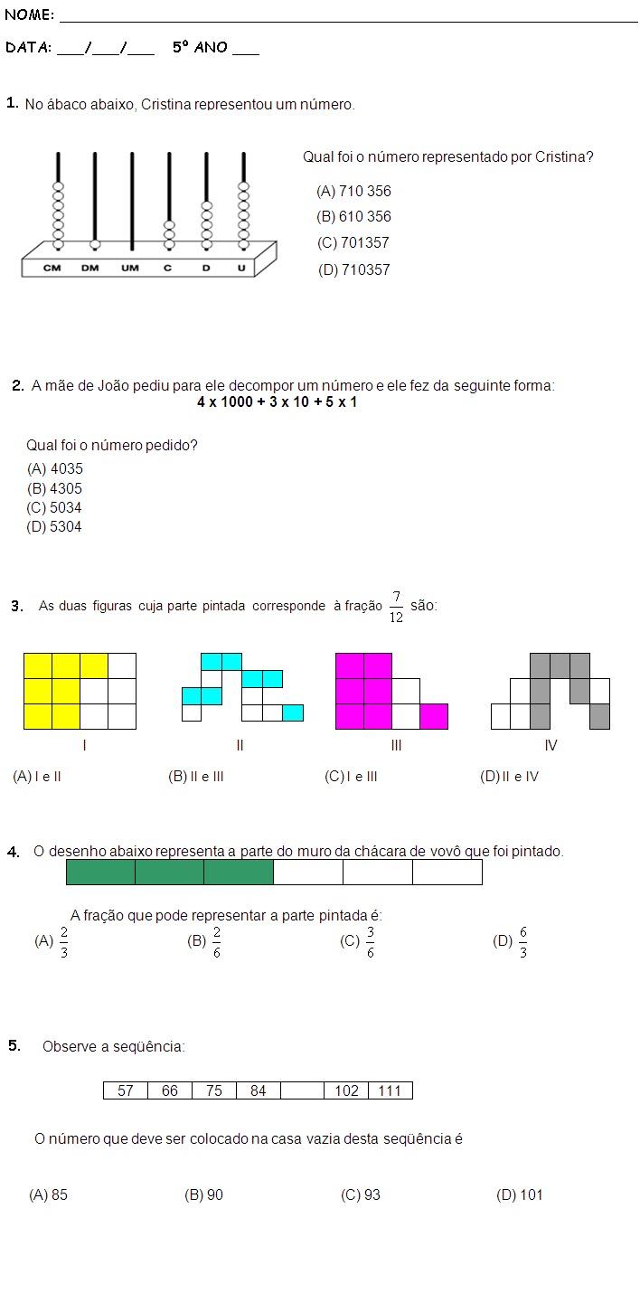Populares Blog Professor Zezinho : Sugestão Avaliação Matemática 5º Ano 2º  IJ15