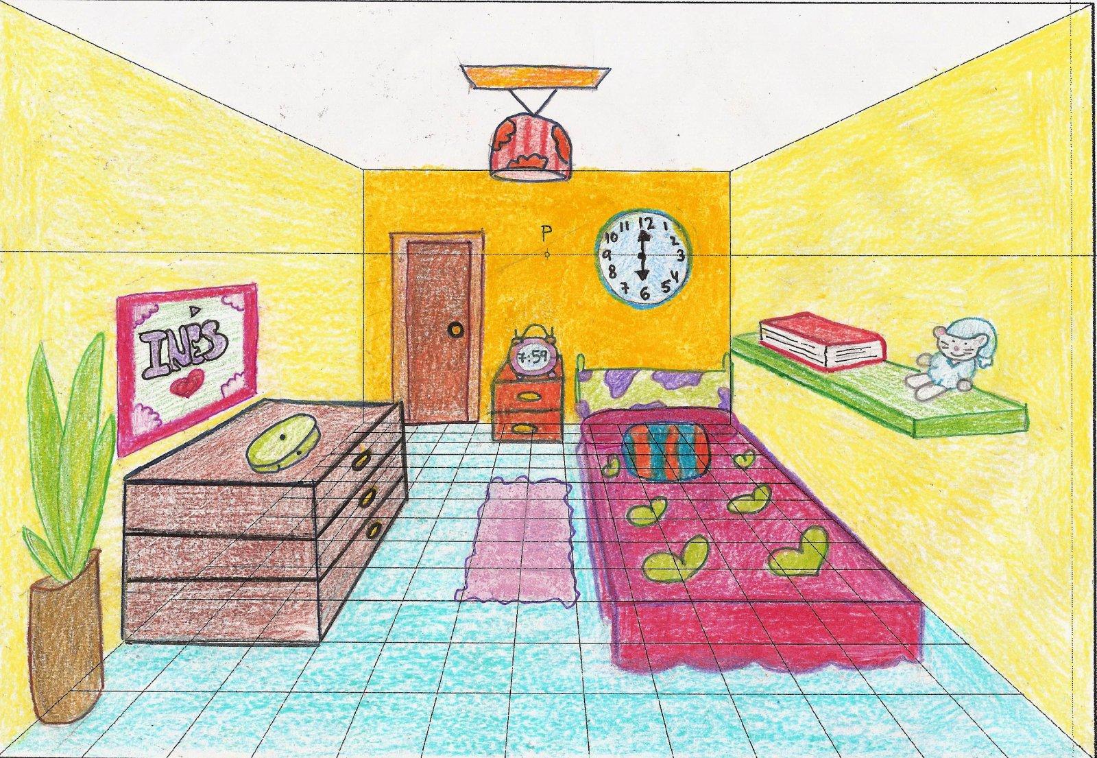 aqu pintamos mucho la habitaci n en perspectiva