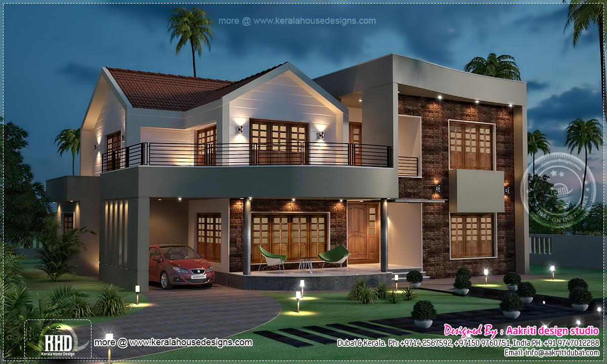 Night View Of Luxury Villa In 3800 House Design