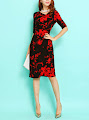 Red Flower Print Black Dress