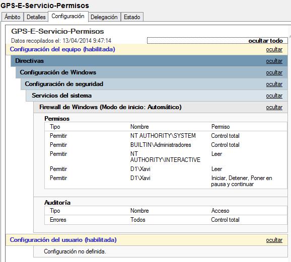 GPO: Permitir a un usuario reiniciar un servicio