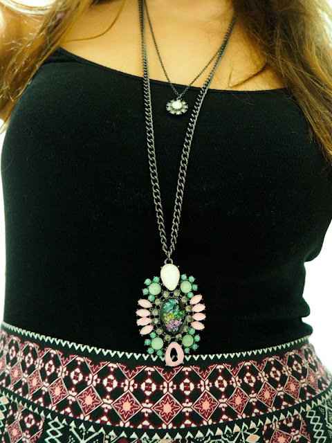 Candy Colours | outfit jewellery details of layered necklace, one small pink flower, one large chunky pink & green jewelled statements design
