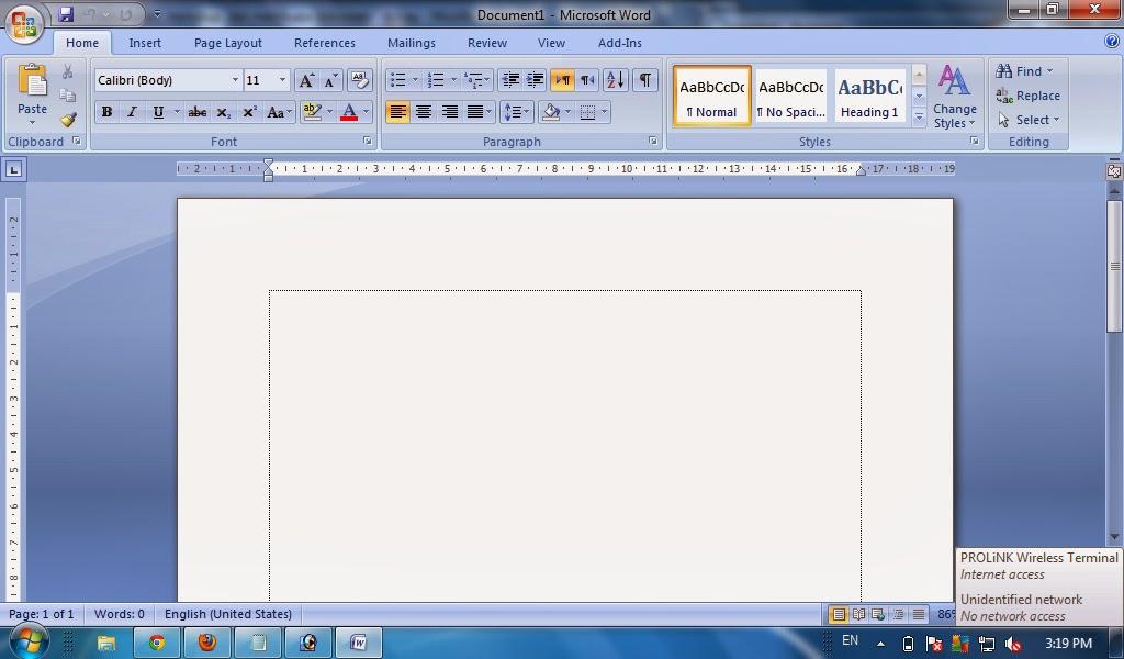 selanjutnya setelah program microsoft office word terbuka maka anda akan melihat lembar kerja kosong dalam microsoft word