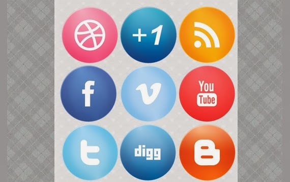 Large Glossy Social Media Icons