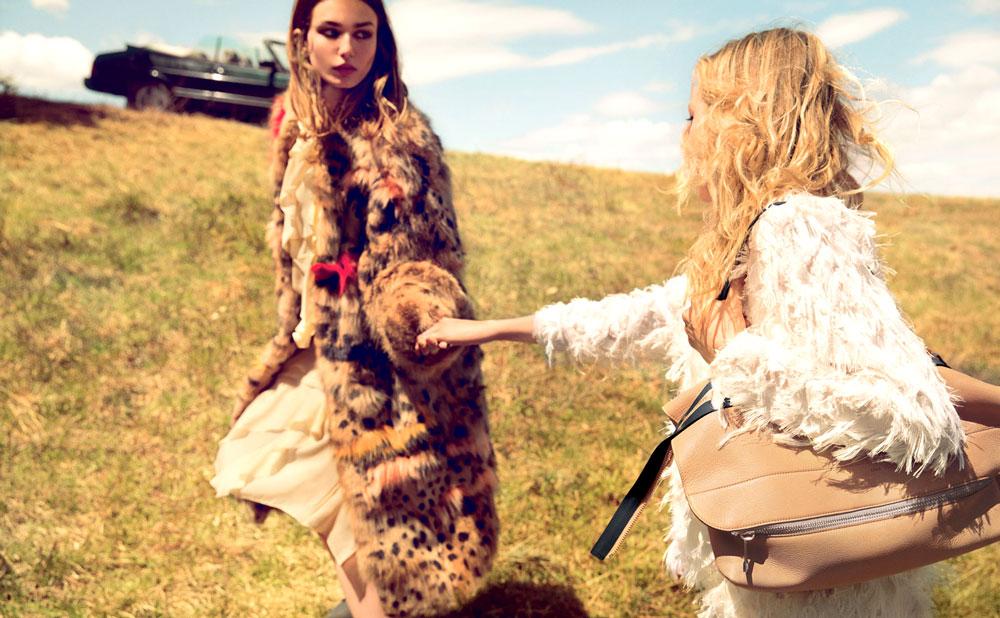 Sasha Pivovarova & Andreea Diaconu in Chloe Fall/Winter 2014 campaign (photography: Inez Van Lamsweerde & Vinoodh Matadin)