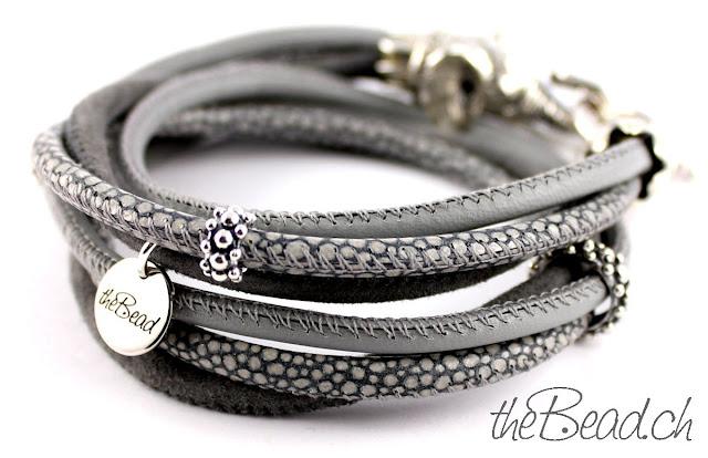 Damen Armband aus Leder und 925 Sterling Silber
