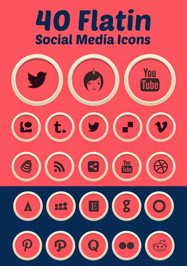 Flatin Social Media Icons (Ai & Pngs)