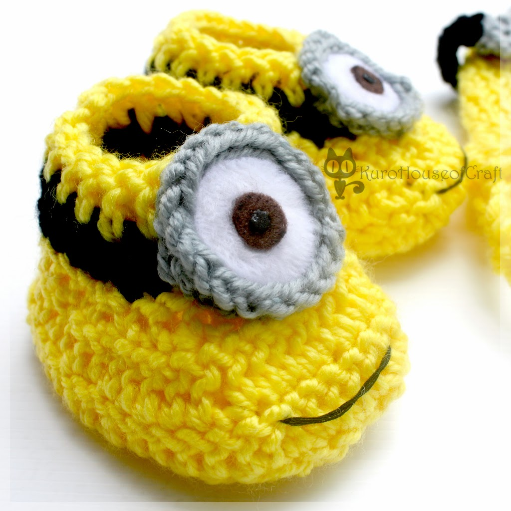Free Crochet Pattern Minion Baby Booties : KuroHouse of Craft: Minion Baby Hat & Booties, Dave, Lance ...