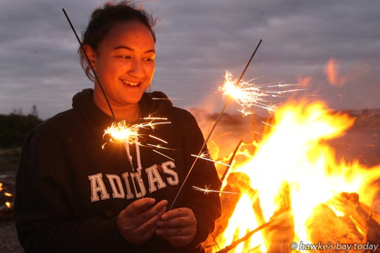 Lulu Jackson. 17, Napier, was out celebrating Guy Fawke's Day with sparklers, fireworks, marshmellows and a bonfire on Awatoto Beach, Napier, with the Jackson, Matenga and Martin families, all from Napier. One of the family said the family dinner plus time on the beach had been a great time of bonding as the family had been through some difficulties lately. photograph
