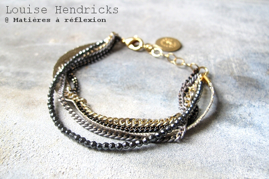 Bracelet chaînes noir gris Louise Hendricks bijoux