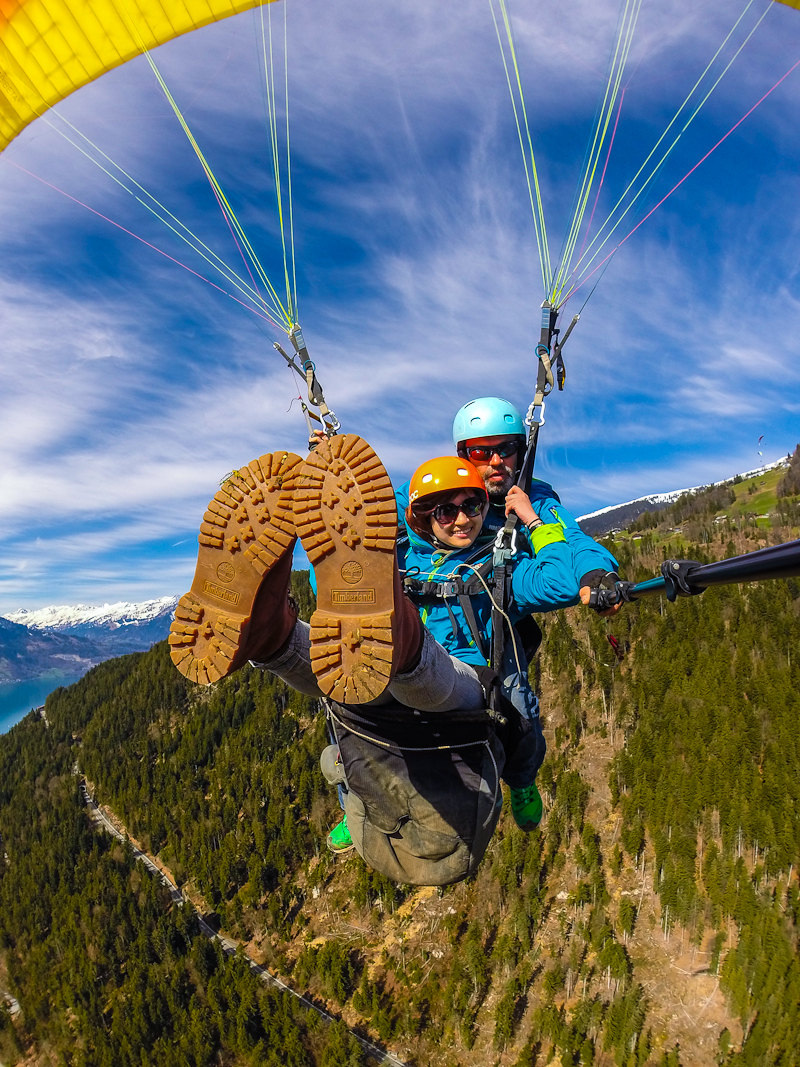 Paraglind pass the swiss alps