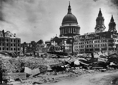 St. Paul's from Paternoster Row, London in WW2