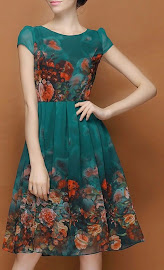 Green Watercolor Floral Dress Chiffon Dress