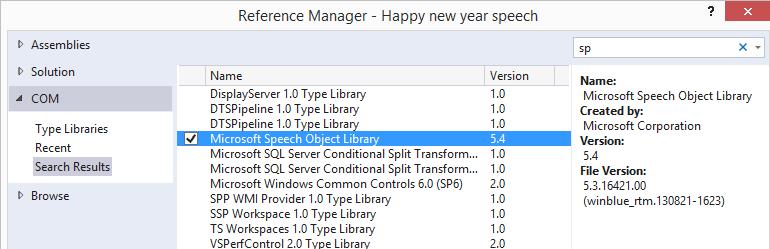 Happy new year c# code, Microsoft speech library Integration ...