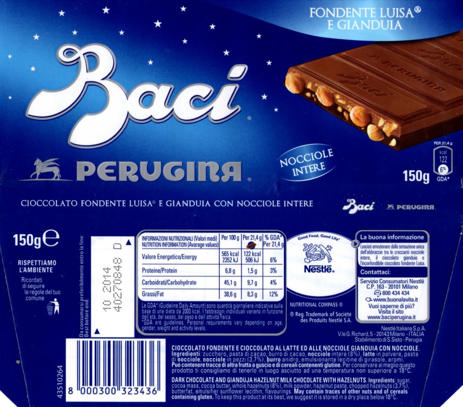 tablette de chocolat lait gourmand nestlé baci fondente luisa e gianduja