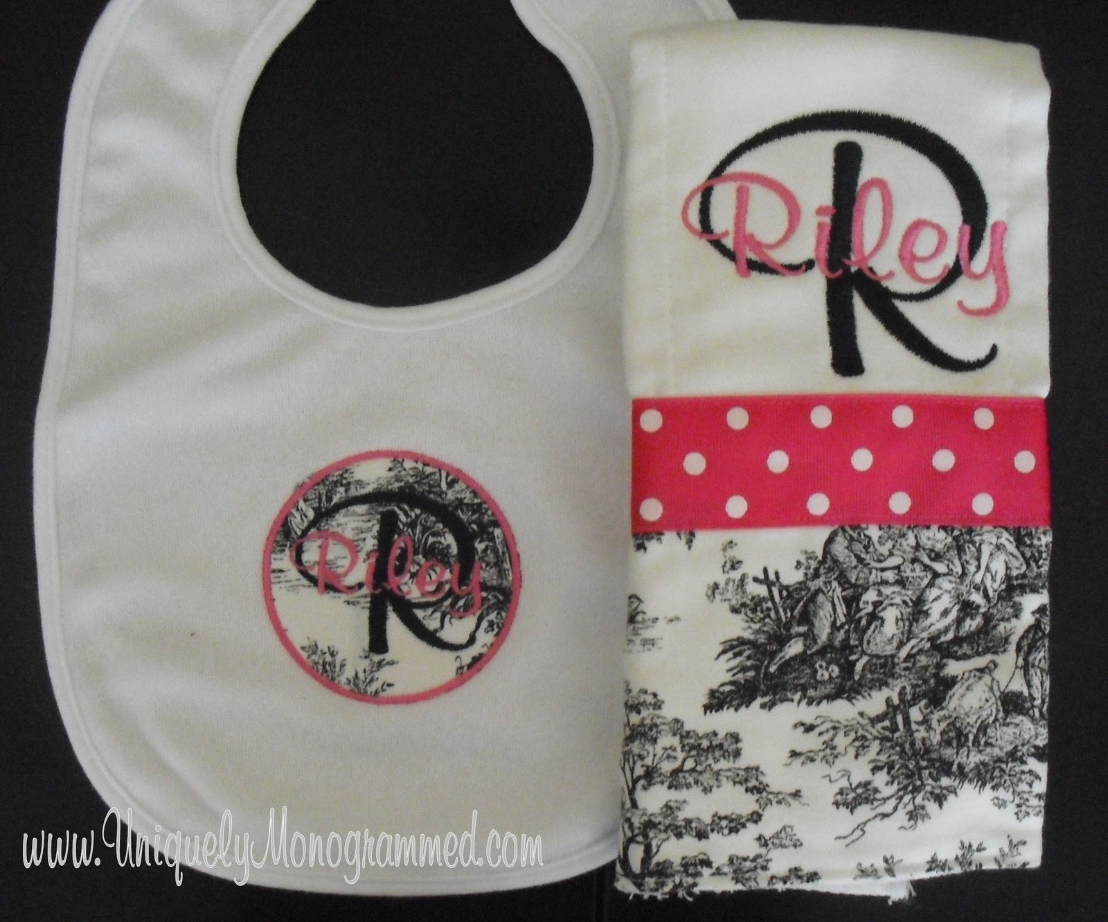 uniquely monogrammed  baby stuff