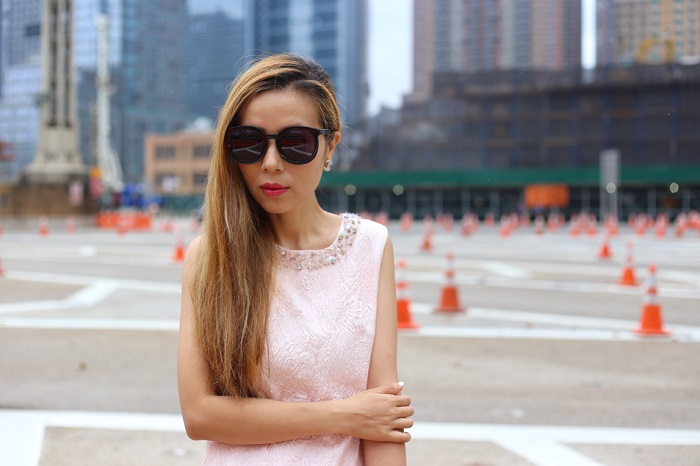 Chicwish Embellished Jacquard Flare Dress in Light Pink, karen walker super duper sunglasses, chanel earrings, hermes bracelet, alice and olivia lace up booties, medusa clutch, street style, nyc blogger, fashion blogger, light pink dress, date night, romantic