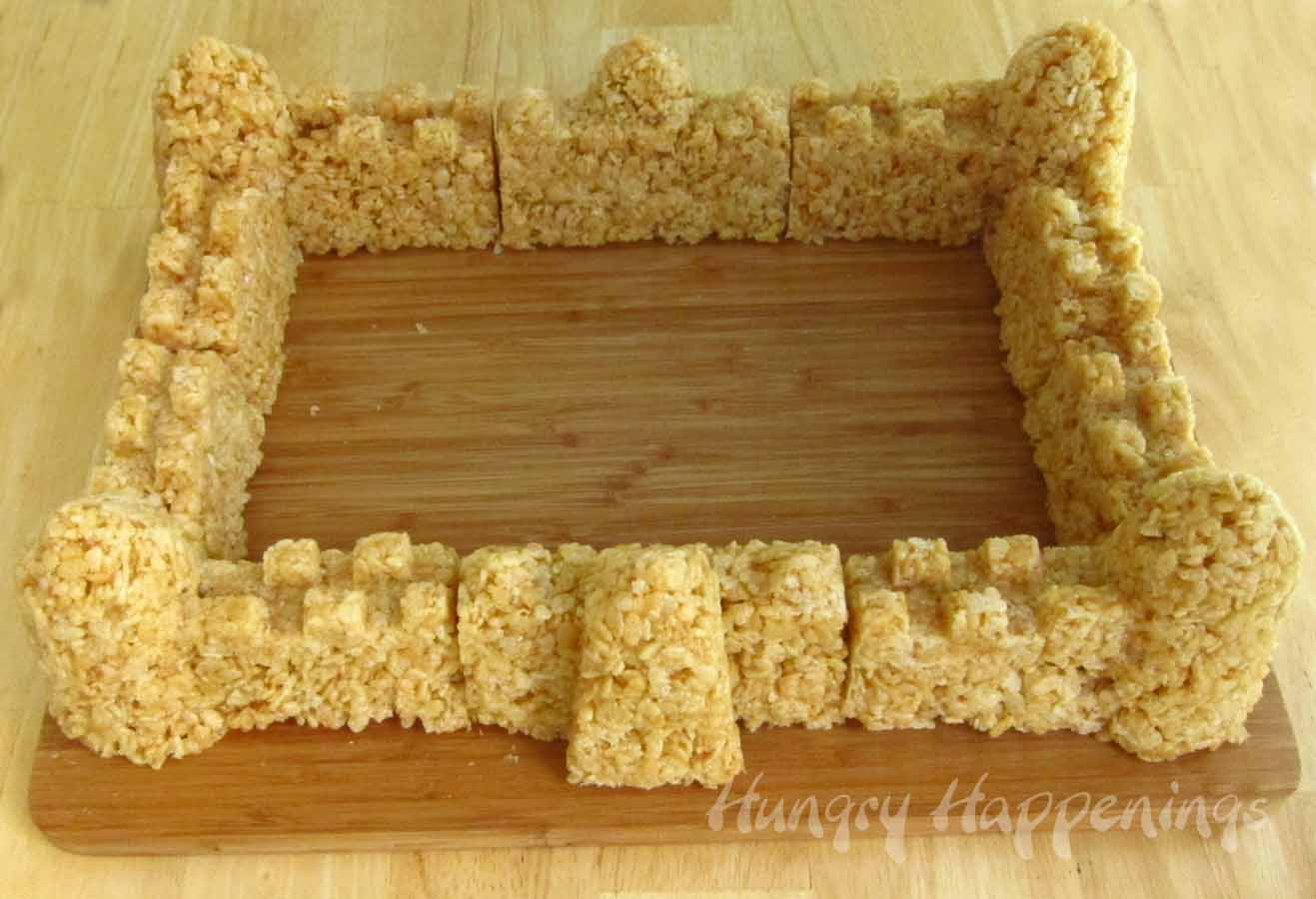 Caramel rice krispies treat sand castle hungry happenings building cereal sand castles ccuart Image collections