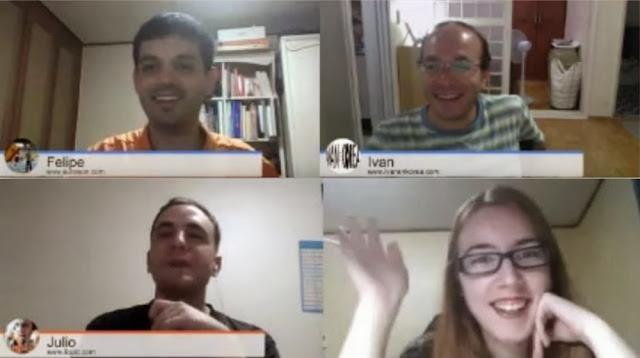 Cuatro blogueros hispanocoreanos en un hangout