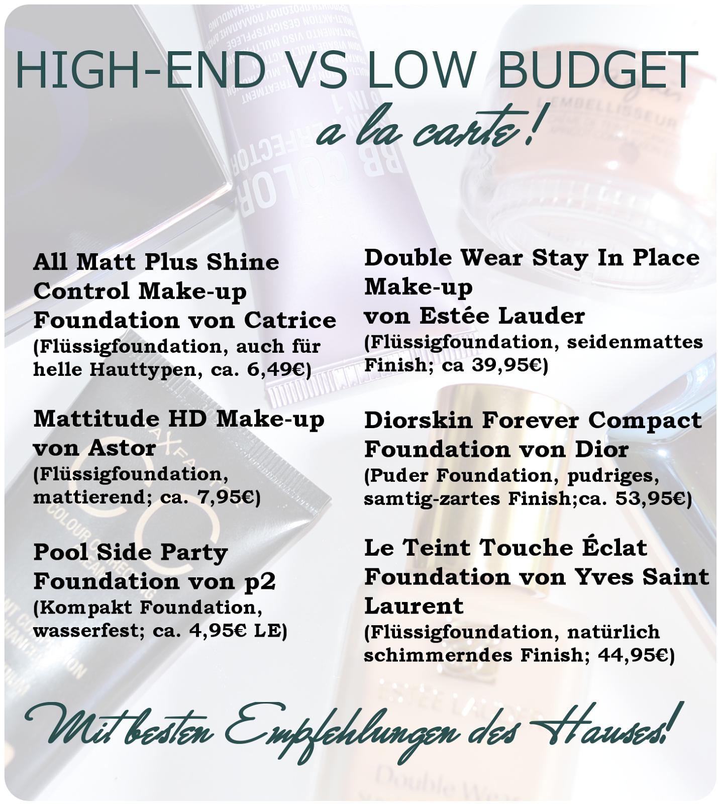 High-End vs Low Budget Foundation Empfehlungen