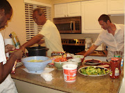 Uncle Robert, Jim, and me dig in. (florida beach )