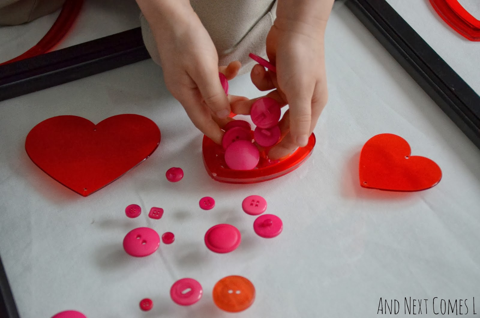 Creating with buttons and hearts for Valentine's Day from And Next Comes L