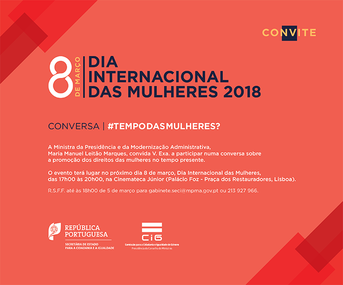Conversa/#Tempo das Mulheres?|CINEMATECA JÚNIOR|PALÁCIO FOZ|8março|17:00H-20:00H|LISBOA