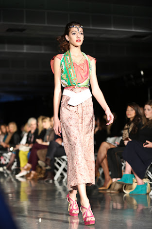 ecofashion week value village thrift chic show, posing in vintage, thrift chic spring looks, green scarf top with pink under neath and pink skirt