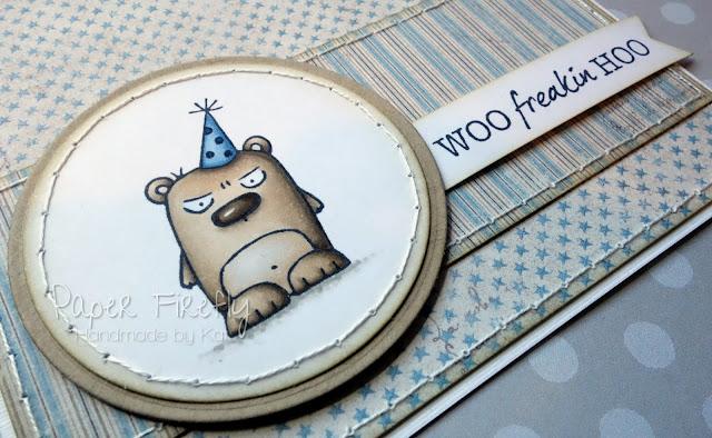 Handmade birthday card featuring party grumpling