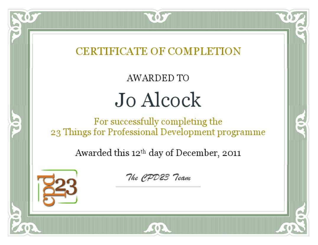 Joeyannes 23 Things For Professional Development Cpd23 Certificate